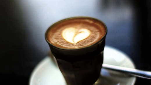 (picture of latte art in the shape of a heart)