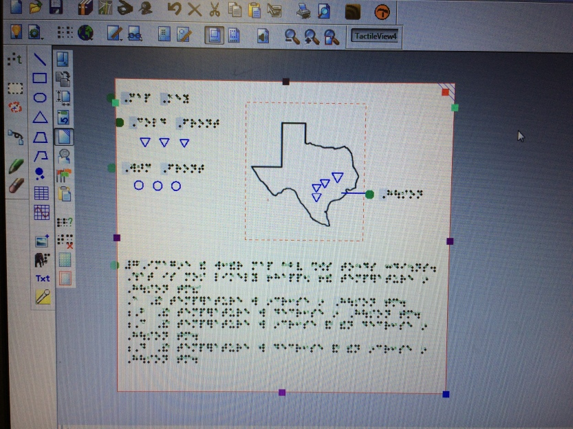 Image of using the TactileView software create and label a map of Texas from a social studies worksheet