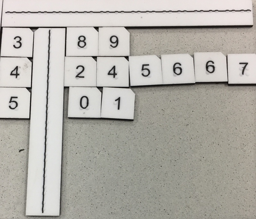 Math Window tiles being used on a stem/leaf plot