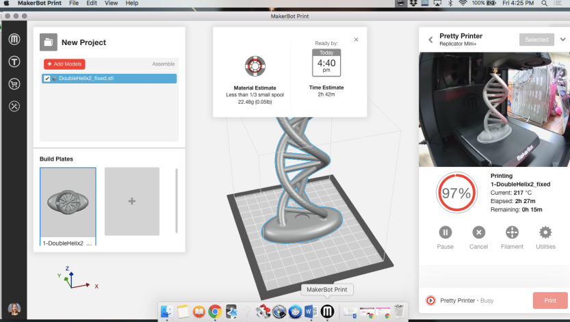 Screenshot of mac computer showing Makerbot Print as it creates a double helix in 3D