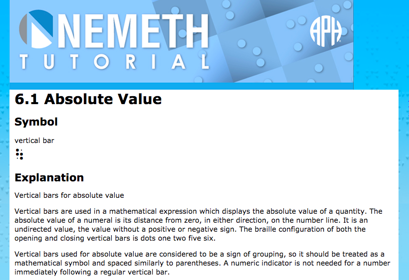 Screen shot of Nemeth Tutorial section 6.1 Absolute Value showing the symbol and explanation