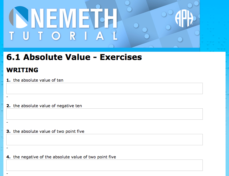 Screen shot of Absolute Value writing exercises