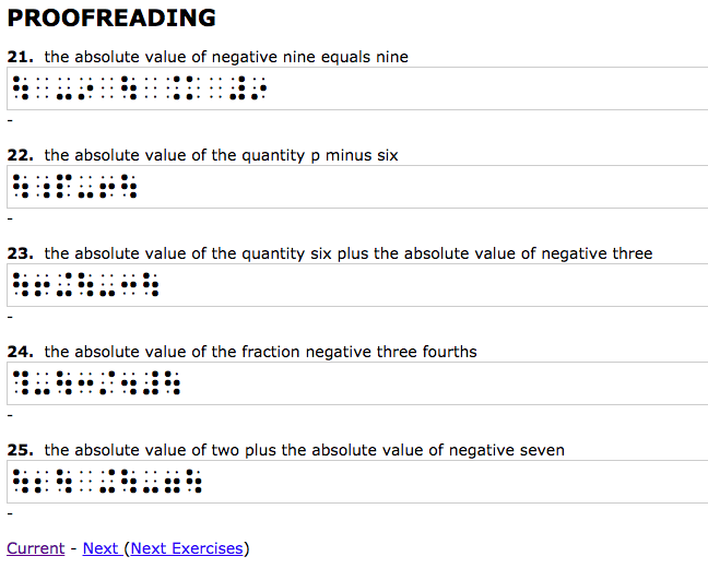 Screen shot of absolute value proofreading exercises